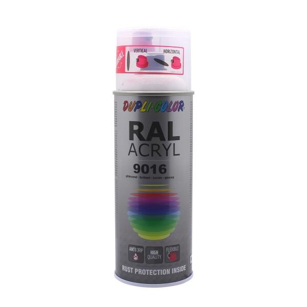 DUPLI-COLOR RAL-Acryl RAL 9016 Verkehrsweiß Glänzend 400 ml Spraydose