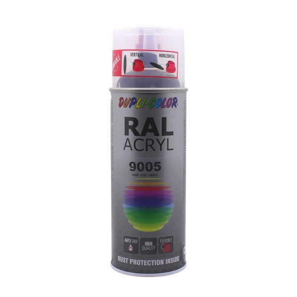 DUPLI-COLOR RAL-Acryl RAL 9005 Tiefschwarz Matt 400 ml Spraydose