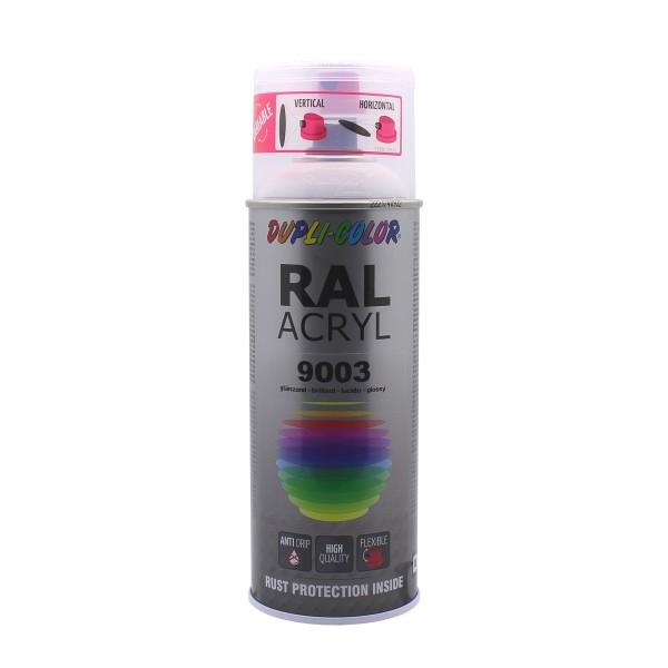 DUPLI-COLOR RAL-Acryl RAL 9003 Signalweiß Glänzend 400 ml Spraydose