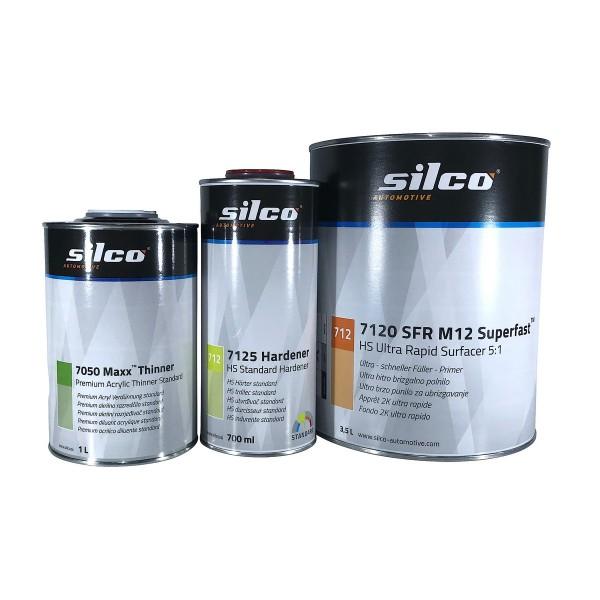 Set verfügbar in 3 Farben und 2 Größen: silco Füller 7120 mit Härter 7125 und Verdünner 7050.