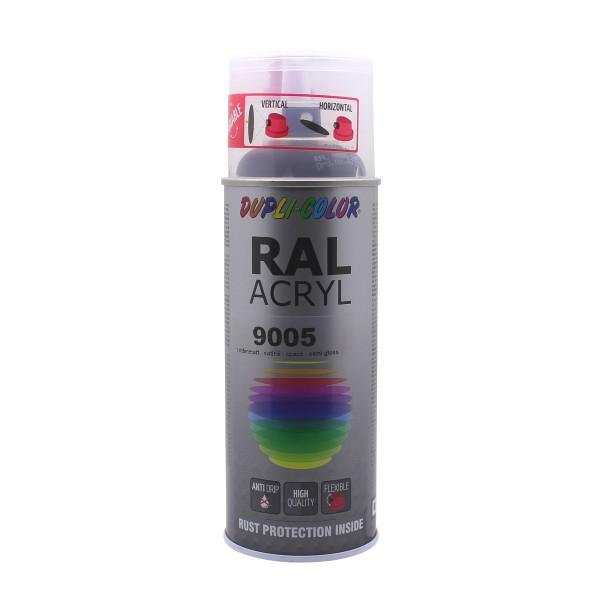 DUPLI-COLOR RAL-Acryl RAL 9005 Tiefschwarz Seidenmatt 400 ml Spraydose